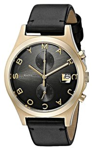 Marc by Marc Jacobs MBM1398 GOLD TONE SLIM BLACK LEATHER STRAP WOMEN'S WATCH