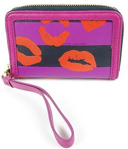 Marc by Marc Jacobs Marc By Marc Jacobs Royal Fuchsia Leather Pvc Slim Zippy Wallet Wristlet
