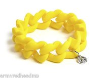 Marc by Marc Jacobs Marc Jacobs Safety Yellow Rubber Silver Turnlock Stretch Bracelet M5131090
