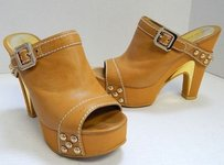 Marc by Marc Jacobs Leather Mule Platforms Italy Tan Sandals