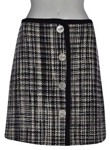 Marc Jacobs Womens Black Plaid A Line Wool Casual Skirt Multi-Color