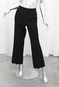 Marc Jacobs Black Wool Flat Front Scallop Cuff Wide Leg Trousers Pants