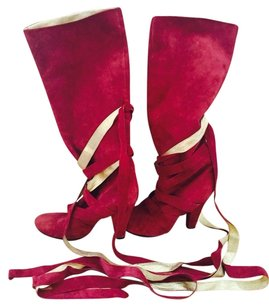 Marc Jacobs Suede Designer Fuchsia And Gold Boots