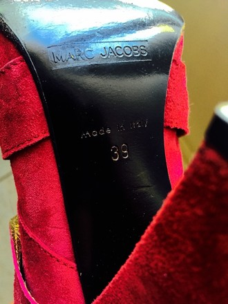 Marc Jacobs Suede Heeled Pink Fuchsia And Gold Boots