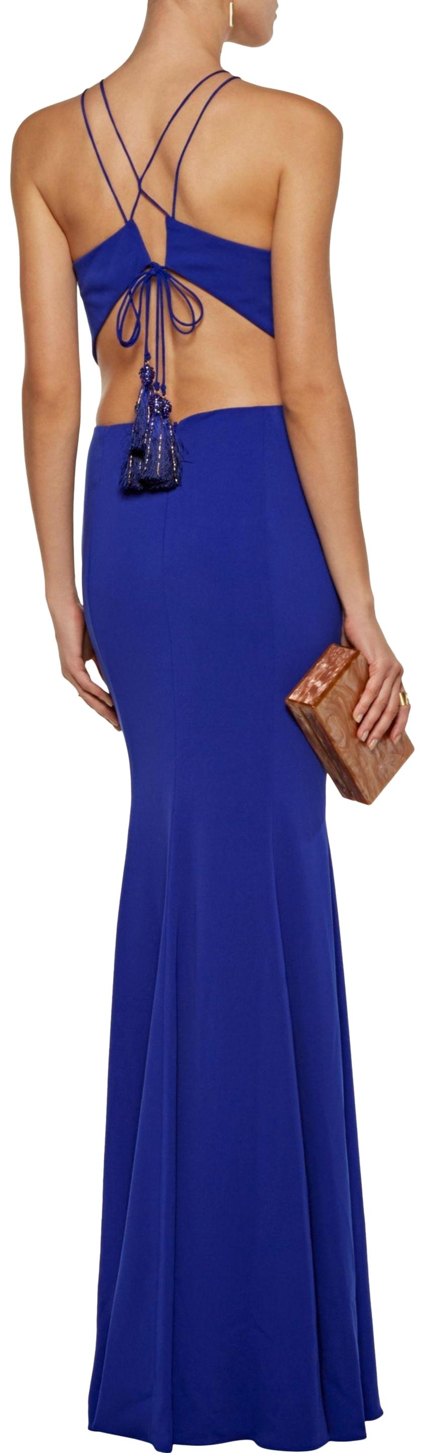 Marchesa Notte Woman Tasseled Embellished Stretch-cady Gown Royal Blue Size 8 Marchesa
