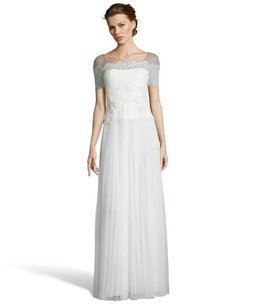 Marchesa Notte Nwt Floral Lace And Mesh Crepe Evening Gown Wedding Dress