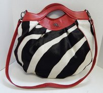 Marco Buggiani Italy Red Leather Zebra Calf Hair Clutch Crossbody Shoulder Bag