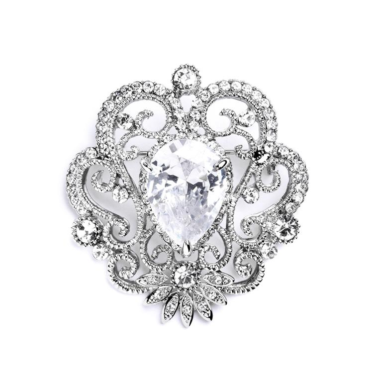 Mariell Silver Vintage Cubic Zirconia With Teardrop 4072p Vintage Cubic  Zirconia With Teardrop 4072p Brooch/