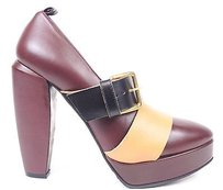 Marni Leather Burgundy / Black / White Platforms