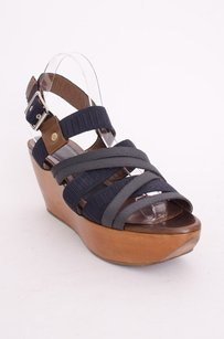 Marni Canvas Strappy Open Toe Leather Wood Wedge Sandal Heels Multi-Color Platforms