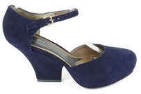 Marni Suede Ankle Navy Blue Platforms