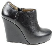 Marni Calf Leather Round Zip Up Wedge Platform Black Boots