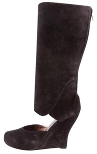 Marni Womens Suede Cutout Wedge Zip Black Boots