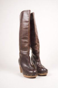 Marni Brown Leather Studded Boots