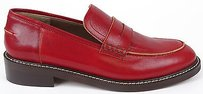 Marni Red Leather Mocassin Penny Loafers Eu Burgundy Flats