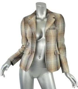 Marni Marni Womens Brown Tan Plaid Wool Three-button Long-sleeve Blazer Jacket 404