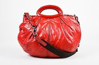 Marni Leather Patent Trim Satchel in Red