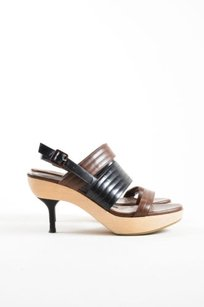 Marni Black Leather Brown Pumps