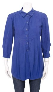 Marni Cobalt Button Up Pleated Cotton 34 Sleeve Bib Shirt 642 Top Blue
