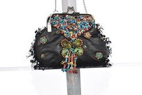 Mary Frances Womens Black Clutch