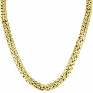 Master Of Bling 10k Yellow Gold Necklace Miami Cuban Link Inch Chain Mm