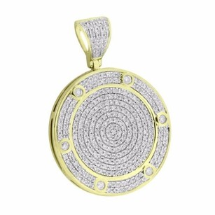 Master Of Bling 10k Yellow Gold Pendant Round Medallion Iced Out Solitaires 1.08 Ct Real Diamond