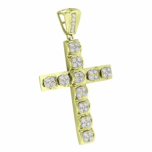 Master Of Bling 14k Yellow Gold Cross Pendant Solitaire Genuine Diamonds High End Crucifix