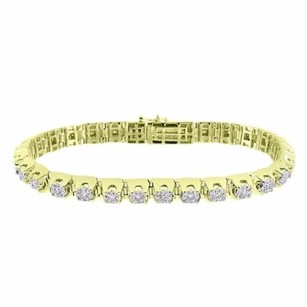 Cluster Set Diamond Link Bracelet Womens Tennnis Style 10k Yellow Gold 3.67 Ct