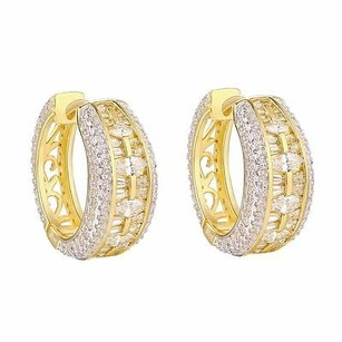 Master Of Bling Gold Tone Hoop Earrings Marquise Cut Solitaire Simulated Diamonds 925 Silver