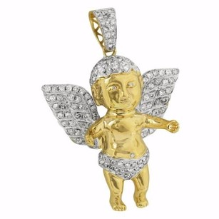 Master Of Bling Guardian Angel Pendant Iced Out 14k Yellow Gold Real Diamonds Prong Set Unique