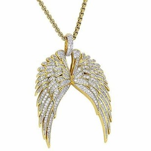 Master Of Bling Guardian Angel Wings Pendant Cherub Guidance 18k Gold Plate Steel Necklace 24