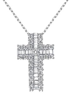 Iced Out Cross Pendant Sterling Silver 925 Simulated Diamonds Necklace Mini Sale