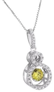 Infinity Pendant Canary Solitaire Simulated Diamond 18 Chain 925 Silver