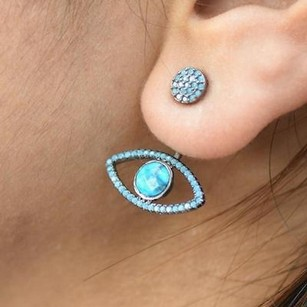 Master Of Bling Evil Eye Hamsa Earrings Turquoise Solitaire Black Tone Custom Womens Iced Out