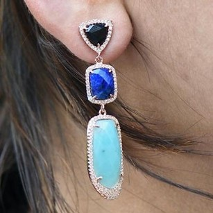 Master Of Bling Onyx Lapis Amazonite Gemstone Earrings Solitaires Rose Gold Plate 925 Silver