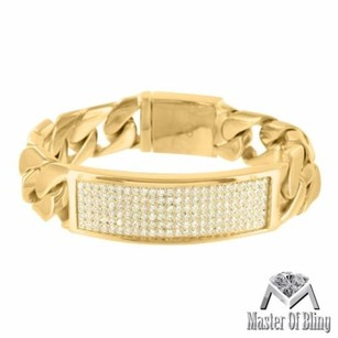 Mens Miami Cuban Bracelet Id Style Thick Yellow Gold Tone Stainless Steel