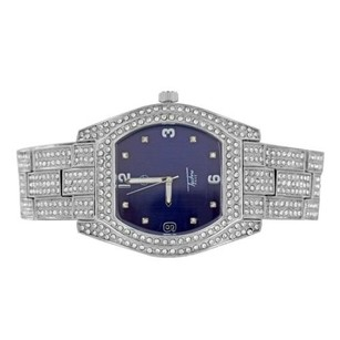 Navy Blue Dial Watch Iced Out Simulated Diamonds Celeb Wear Pave Set Analog