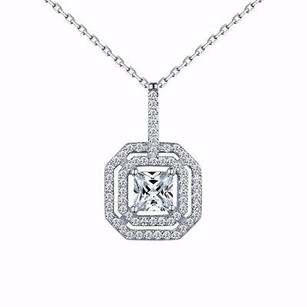 Master Of Bling Princess Cut Pendant Solitaire Simulated Diamonds Ladies Sterling Silver Chain