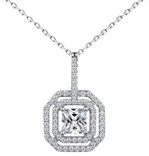 Princess Cut Pendant Solitaire Simulated Diamonds Ladies Sterling Silver Chain