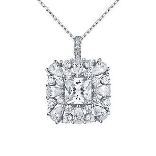 Master Of Bling Princess Cut Solitaire Pendant Square Pear Cut Simulated Diamonds 925 Silver
