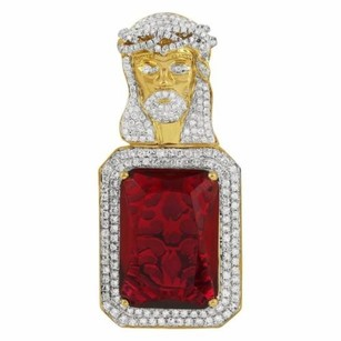 Master Of Bling Red Ruby Pendant Jesus Face Charm Real 10k Gold Genuine Diamonds Iced Out Custom