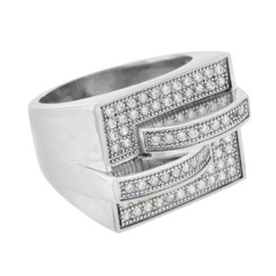 Mens Stainless Steel Ring Simulated Diamonds Pave Set Wedding Engagement Pave