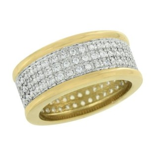 14k Gold Finish Band Ring Stainless Steel Simulated Diamonds Mens Engagement