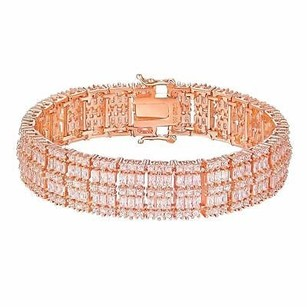Rose Gold Tone Bracelet Simulated Diamonds 925 Sterling Silver Classy Womens