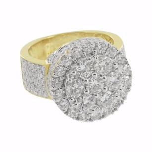 Master Of Bling Round Cluster Diamonds Ring Mens Custom Face Round Cut 10k Real Gold Carat