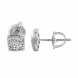Master Of Bling Silver Tone Earrings Square Simulated Diamonds Screw Back Pave Set Elegant Mm