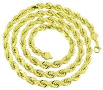 Solid Rope Chain 7mm 10k Yellow Gold Inches Mens Lobster Lock Custom Style