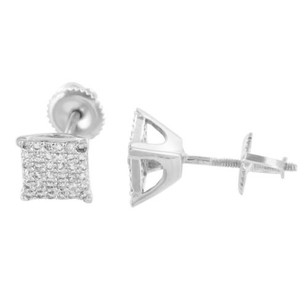 Master Of Bling Square Earrings Rhodium Plated Simulated Diamonds Screw Back Studs