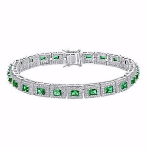 Master Of Bling Tennis Bracelet Princess Cut Green Solitaires Simulated Diamond 925 Silver Women