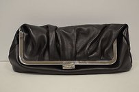 Max & Co. Goat Skin Leather Black Clutch